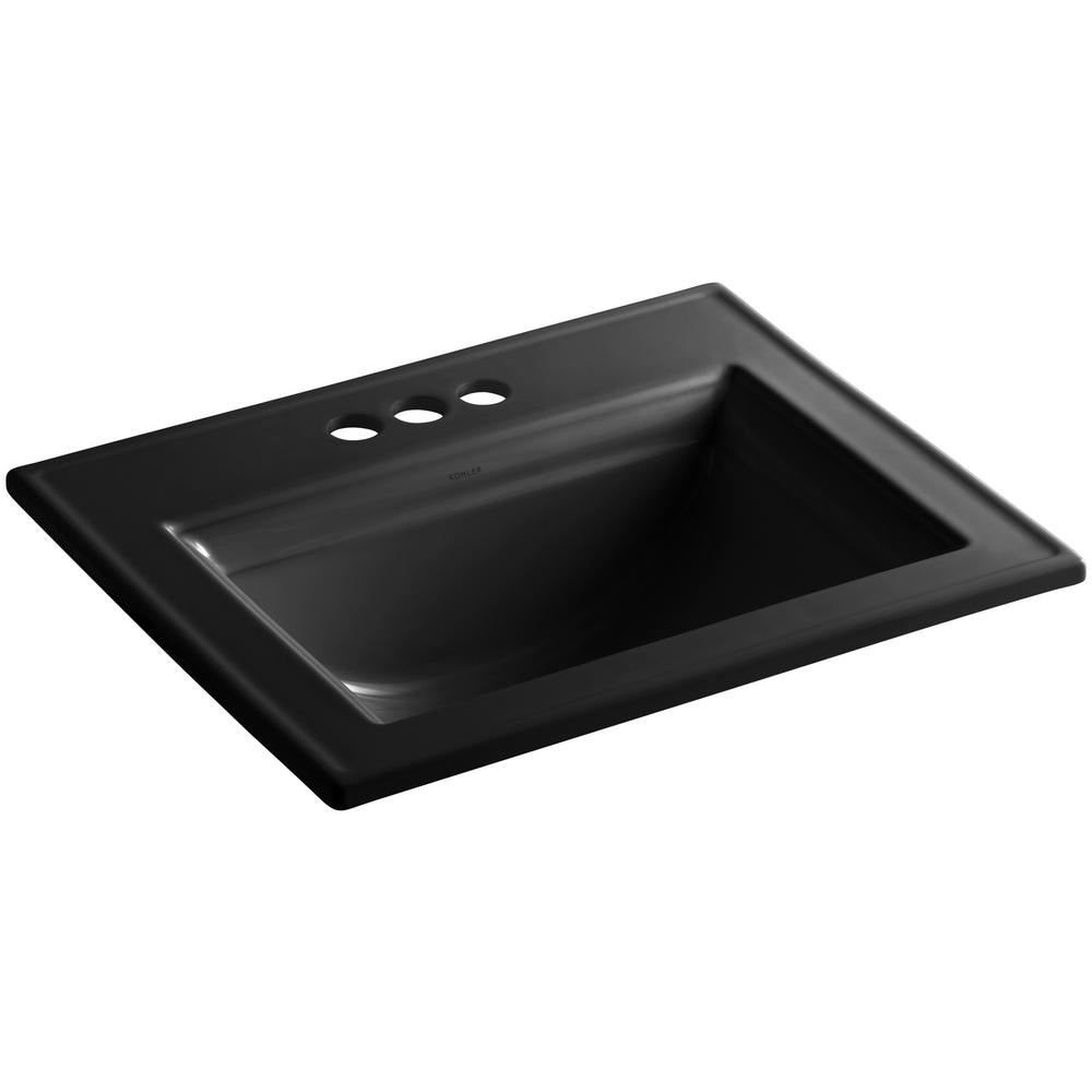 Memoirs Drop-In Vitreous China Bathroom Sink with Stately Design in Black