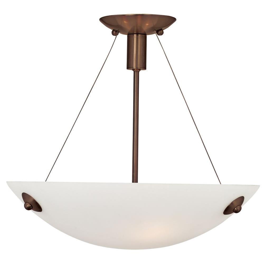Noya 3-Light Bronze Semi-Flush Mount Light with White Glass Shade