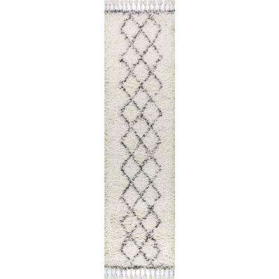 Mercer Shag Plush Tassel Moroccan Tribal Geometric Trellis Cream/Grey 2 ft. x 8 ft. Runner Rug