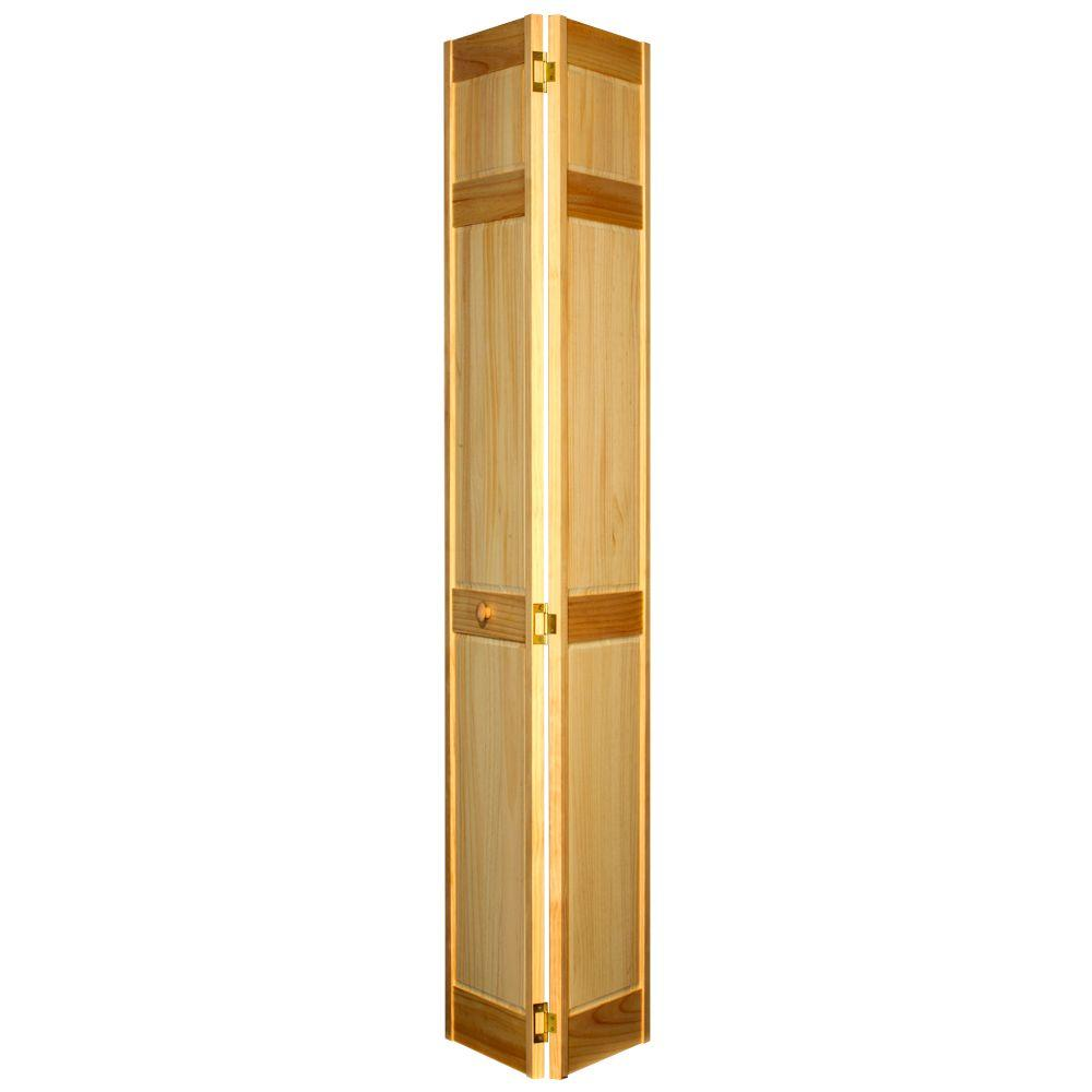 Home Fashion Technologies 6-Panel MinWax Natural Solid Wood Interior Bifold Closet Door-DISCONTINUED