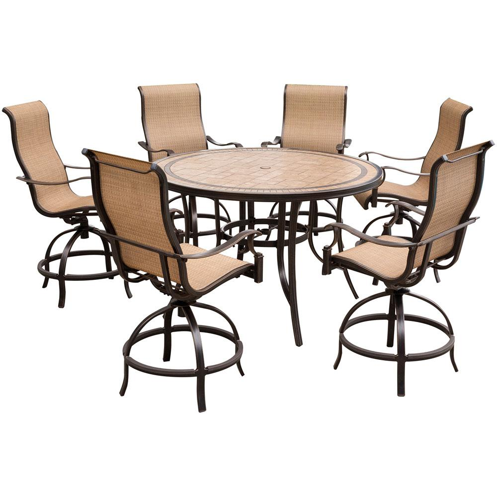 Hanover Monaco 7-Piece Aluminum Outdoor High Dining Set with Round Tile-top  Table and Contoured Sling Swivel Chairs