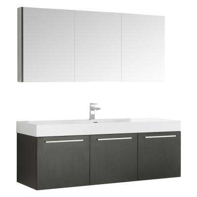 Vista 59 in. Vanity in Black with Acrylic Vanity Top in White with White Basin and Mirrored Medicine Cabinet