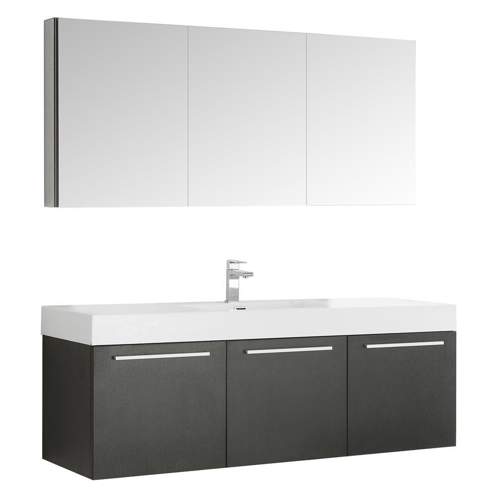 Fresca Vista 59 in. Vanity in Black with Acrylic Vanity Top in White ...
