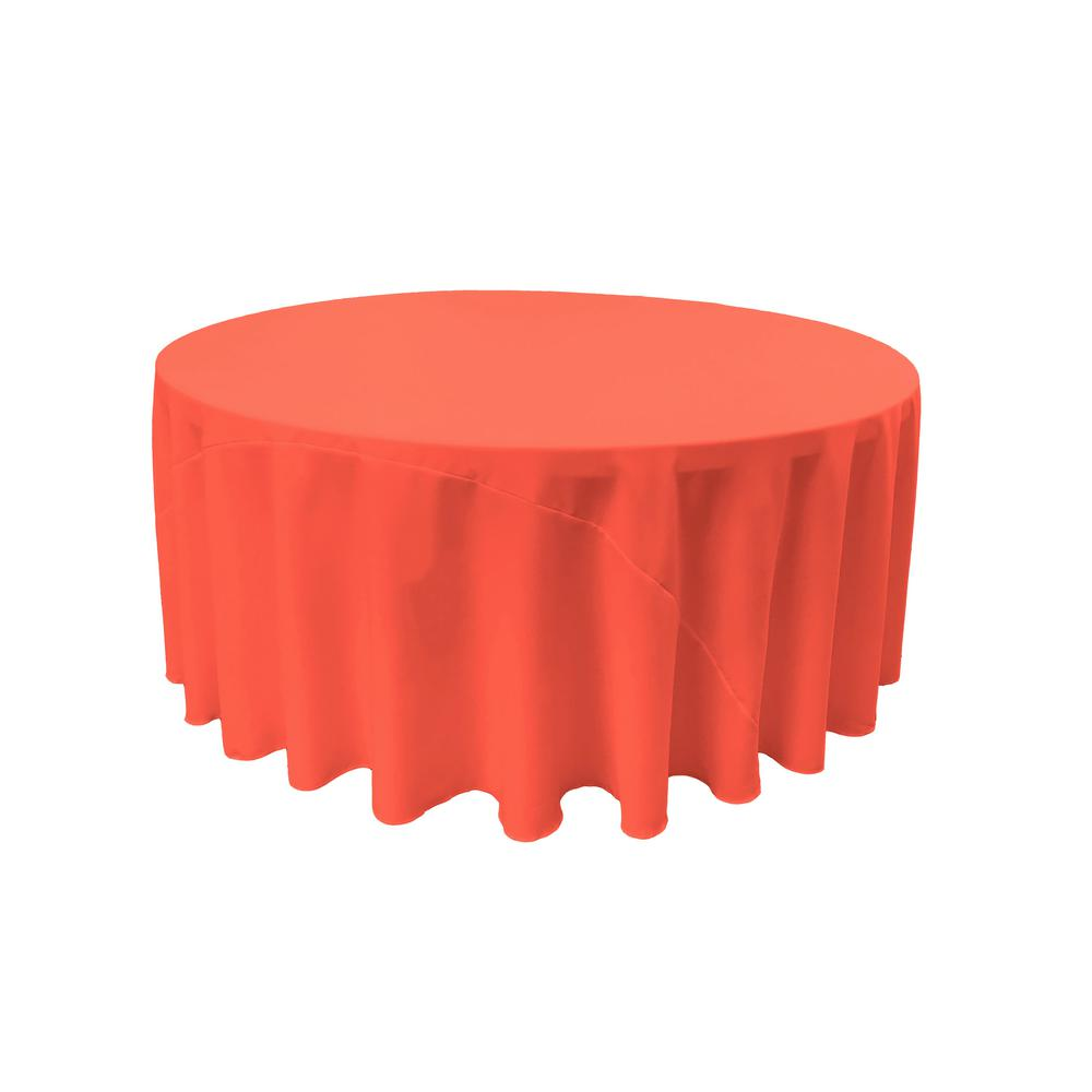 LA Linen 132 In. Round Coral Polyester Poplin Tablecloth