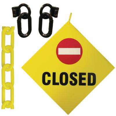 Closed Sign 8 in. x 8 in. with 12 ft. Yellow Plastic Chain