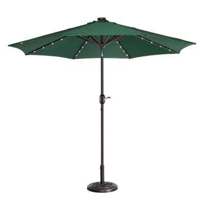 9 ft. Steel Market Solar Tilt LED Lighted Patio Umbrella in Green
