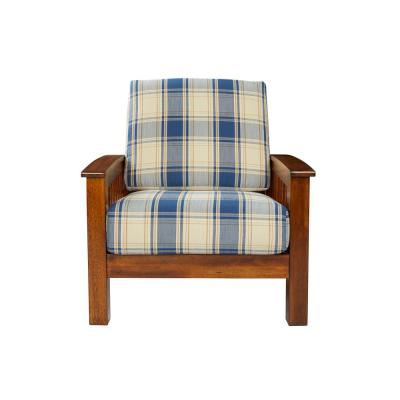 Omaha Mission Style Arm Chair with Exposed Wood Frame in Blue Plaid