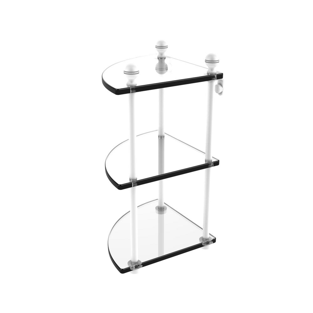 Mambo Collection 3 Tier Corner Glass Shelf in Matte White