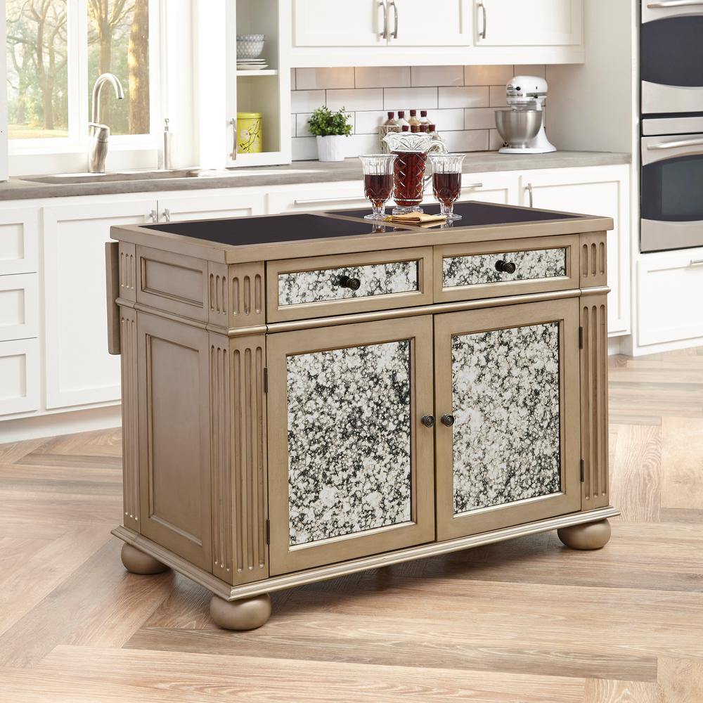 Visions Silver U0026 Gold Champagne Kitchen Island With Granite Top