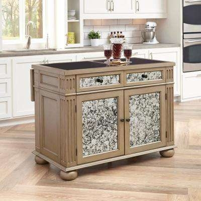Visions Silver & Gold Champagne Kitchen Island With Granite Top