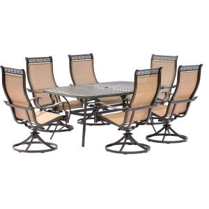 Hanover Manor 7-Piece Aluminum Rectangular Outdoor Dining Set with Cast-Top Table by Hanover