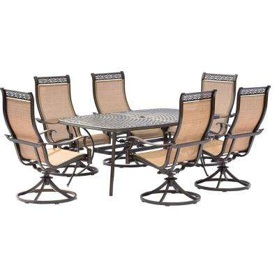 Manor 7-Piece Aluminum Rectangular Outdoor Dining Set with Cast-Top Table