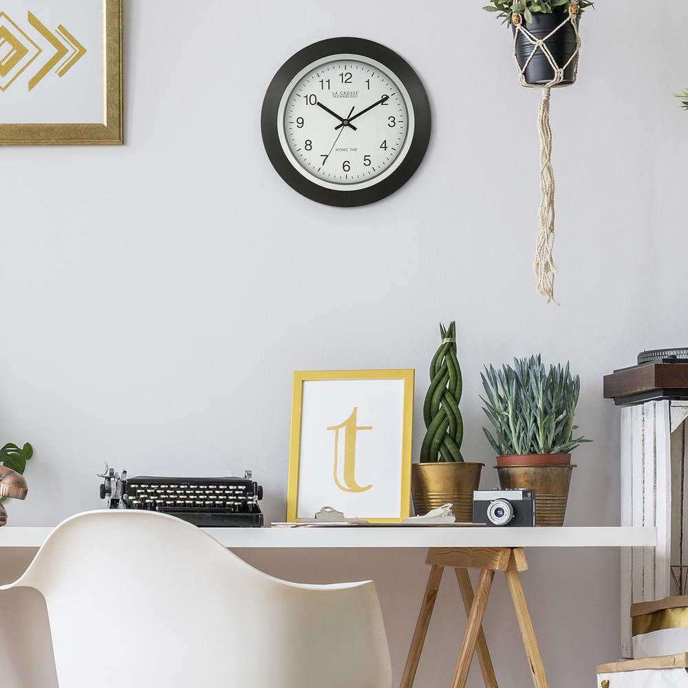 La Crosse Technology 14 in. Round Analog Black Frame Wall Clock-404 ...