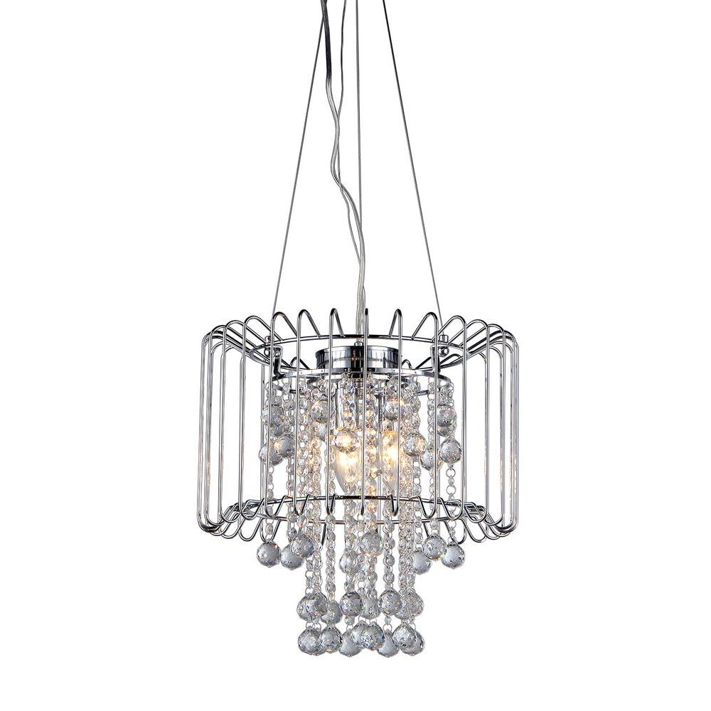 Warehouse Of Tiffany Cassandra 55 In Indoor 3 Light Chrome Chandelier