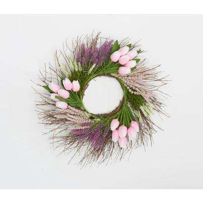22 in. Tulip Heather Wreath on Natural Twig Base in Pink