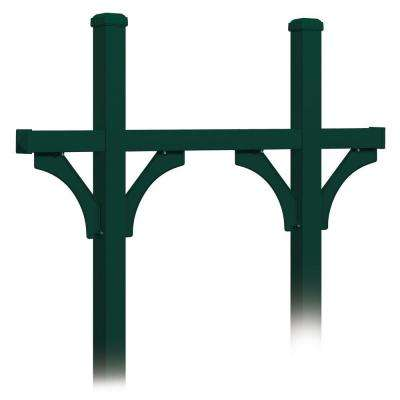 Deluxe In-Ground Mounted Bridge Style Post for 5 Mailboxes, Green