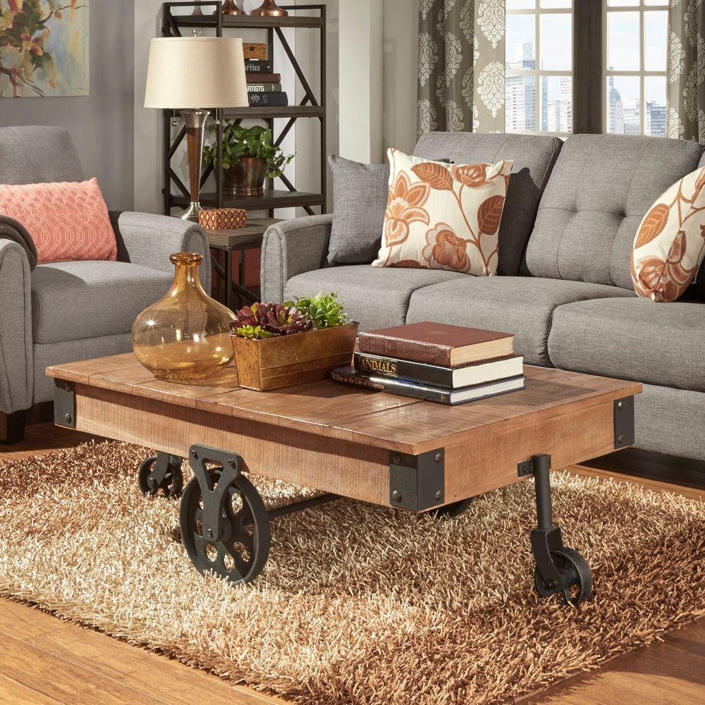HomeSullivan Grove Place Distressed Mobile Coffee Table