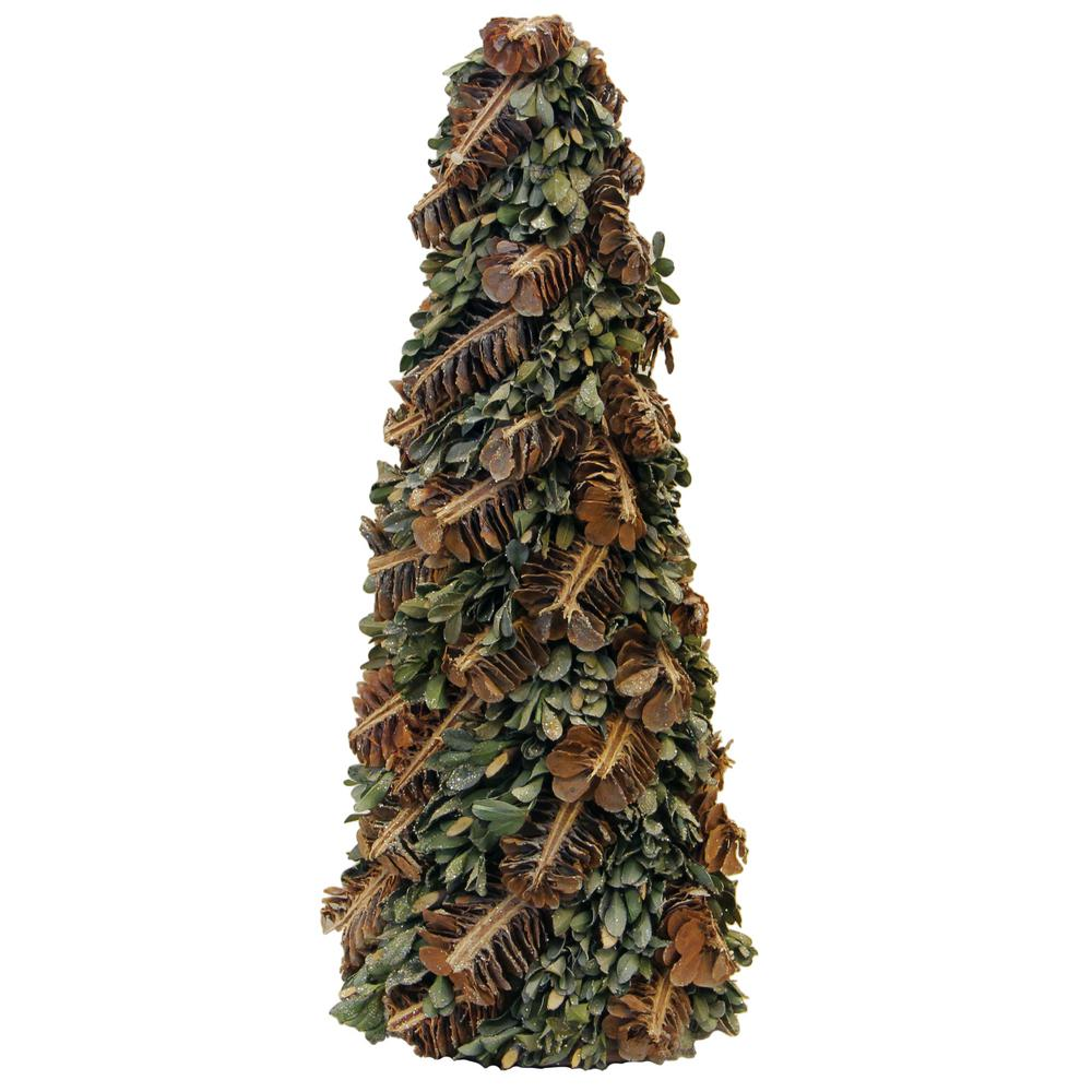 Christmas Leaves.Northlight 16 In Rustic Pinecones And Leaves Glittered Cone Tree Christmas Tabletop Decoration