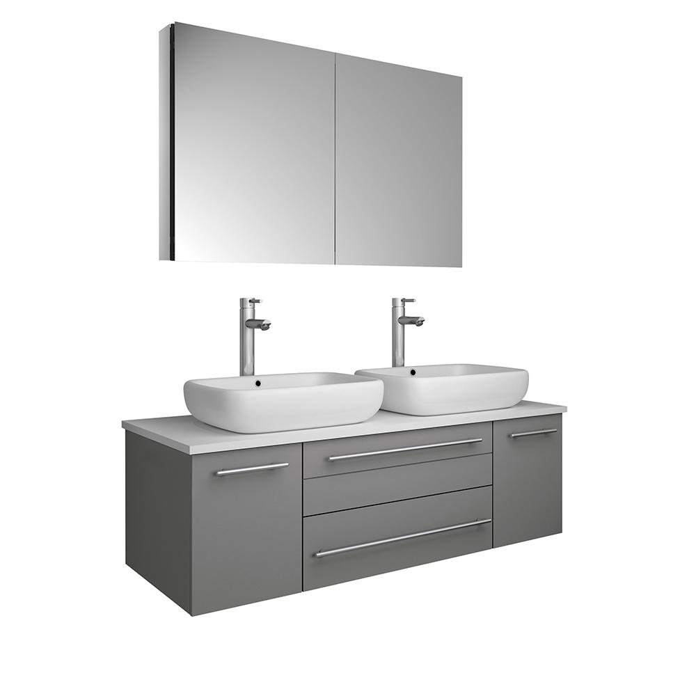Fresca Lucera 48 in. W Wall Hung Bath Vanity in Gray with Quartz Stone Vanity Top in White w/White Basin and Medicine Cabinet