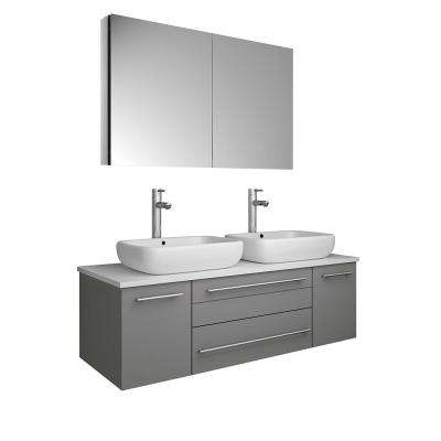 Lucera 48 in. W Wall Hung Bath Vanity in Gray with Quartz Stone Vanity Top in White w/White Basin and Medicine Cabinet