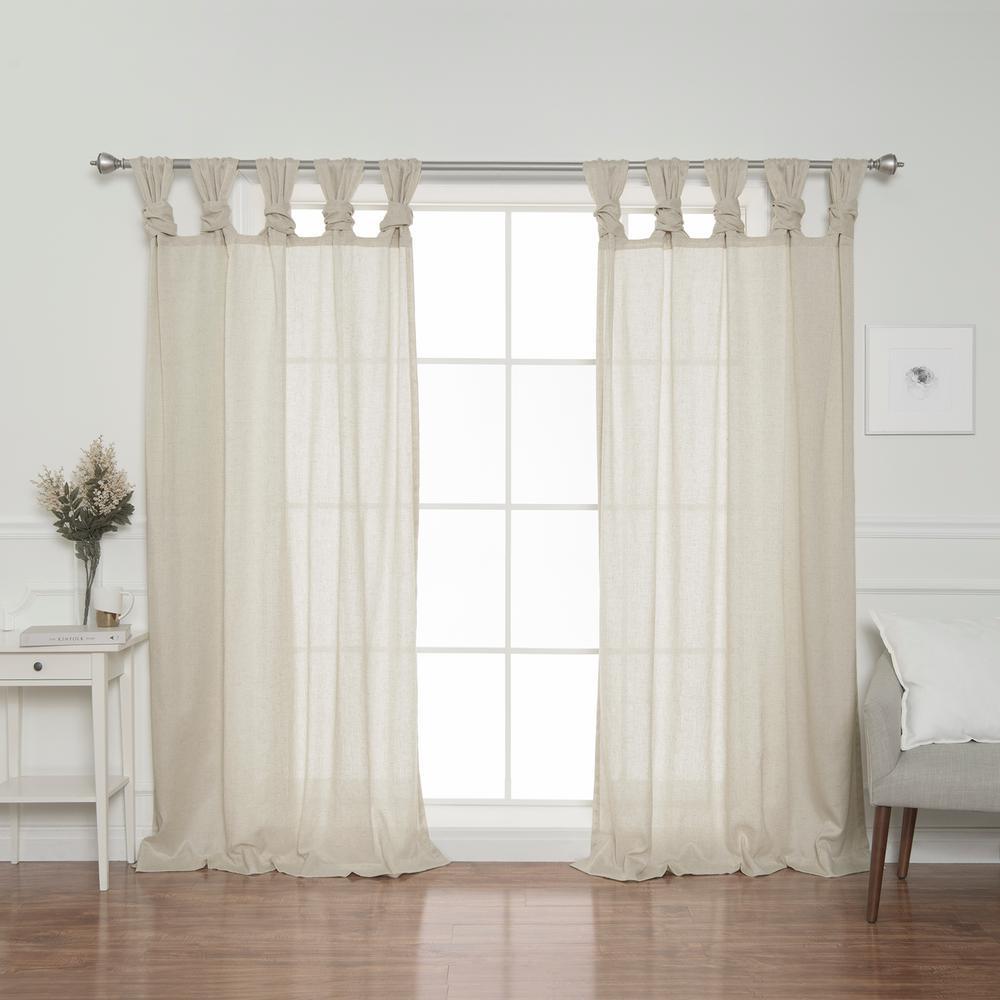 Best Home Fashion Natural Faux Linen Twist Tab Curtain