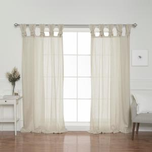 Natural Faux Linen Twist Tab Curtain Panel - 84 inch L x 52 inch W (2-Pack) by