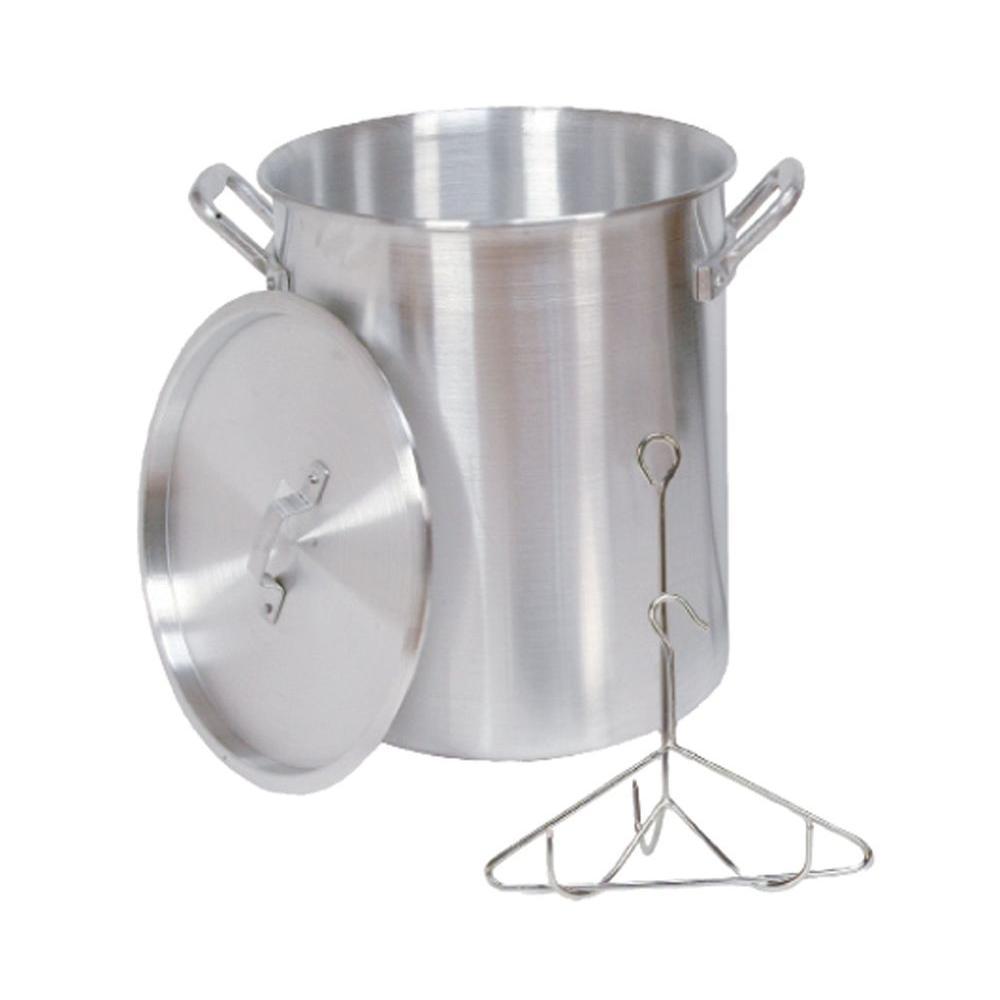 30 qt. Aluminum Turkey Pot with Lid Lifting Rack and Hook