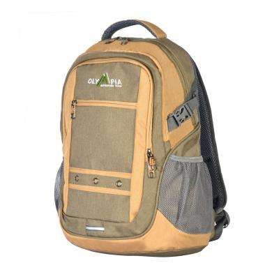 Eagle 25L 19 in. Green and Sand Outdoor Backpack with padded laptop/tablet compartment