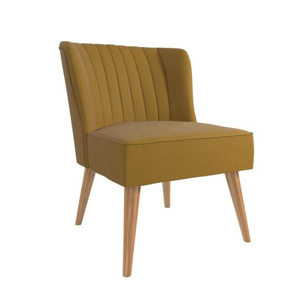 Novogratz Brittany Mustard Yellow Linen Upholstered Accent Chair 2307329n The Home Depot