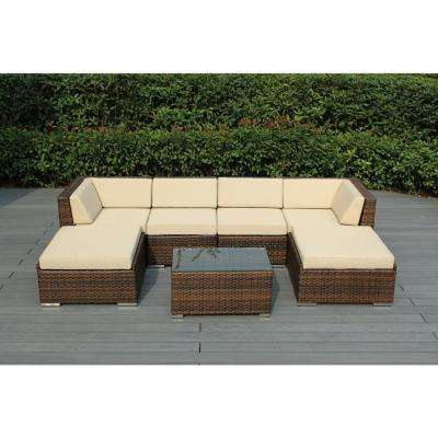 Ohana Mixed Brown 7-Piece Wicker Patio Seating Set with Spuncrylic Beige Cushions