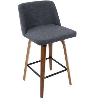 Toriano 26 in. Walnut Wood and Blue Fabric Counter Stool