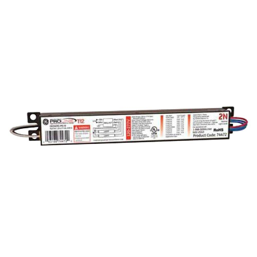 120 to 277-Volt Electronic Ballast for 4 ft. 2-Lamp T12 Fixture