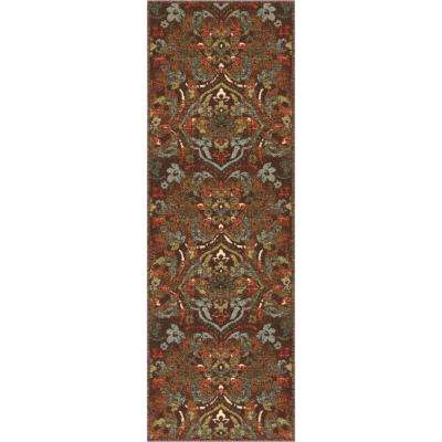 Kings Court Florence Brown 3 ft. x 12 ft. Traditional Rustic Runner Rug