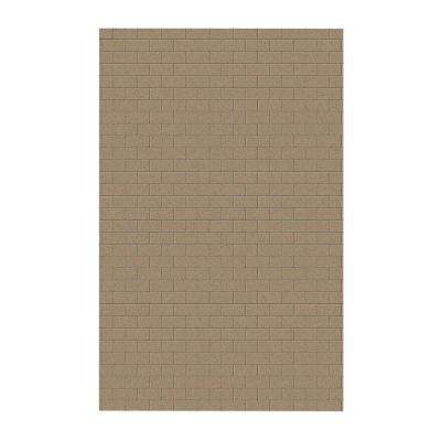 Subway Tile 62 in. x 96 in. 1-Piece Easy Up Adhesive Shower Panel in Barley