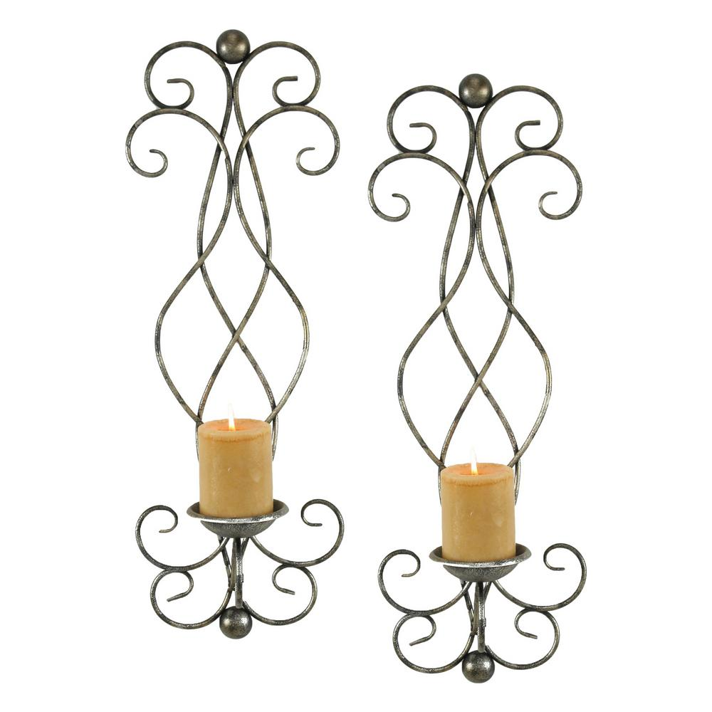 Estelle Silver Candle Wall Sconce Set Of 2 6625 The Home Depot