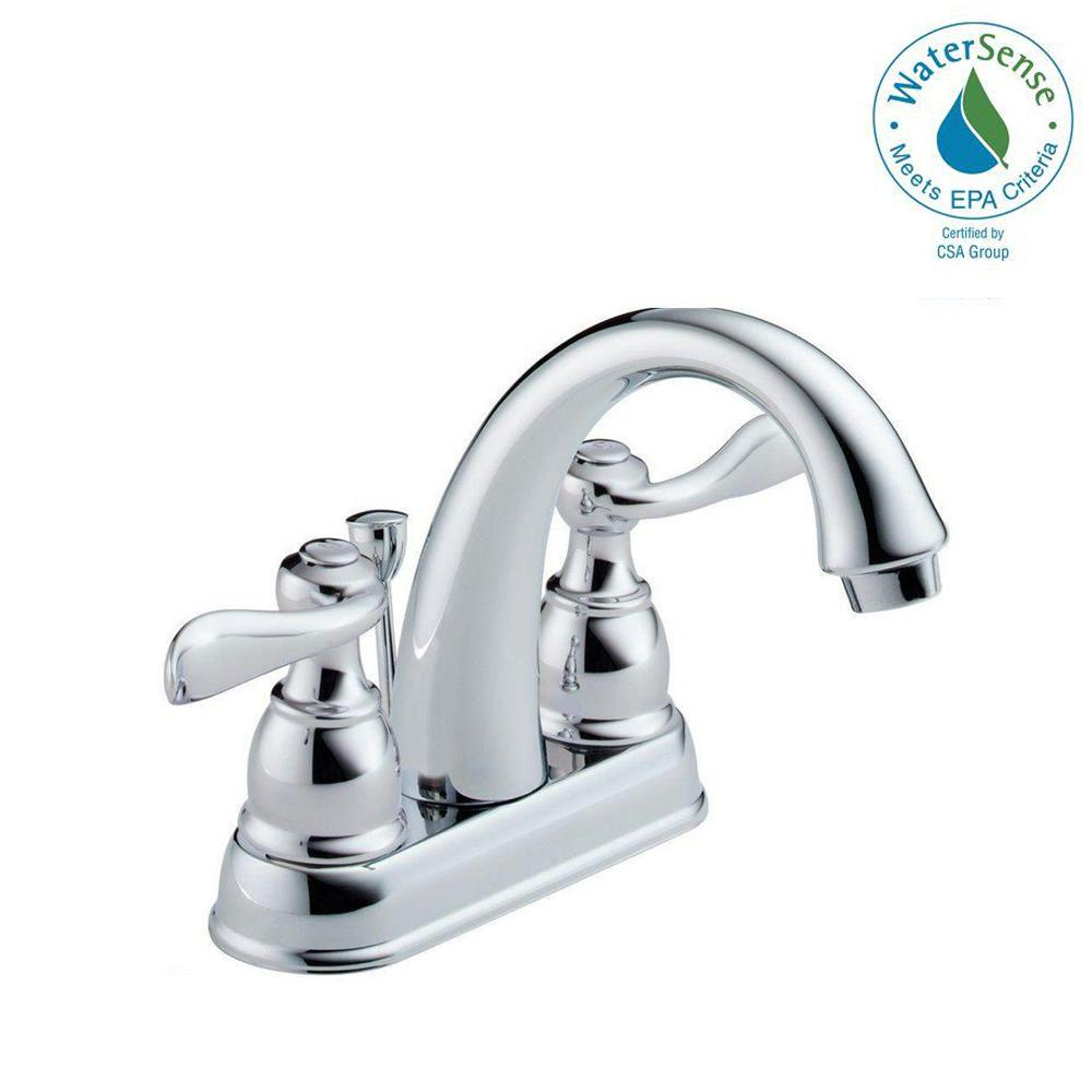 Delta Windemere 4 In Centerset 2 Handle Bathroom Faucet With Metal Drain Assembly In Chrome