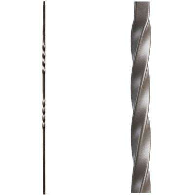 Twist and Basket 44 in. x 0.5 in. Ash Grey Double Twist Hollow Wrought Iron Baluster