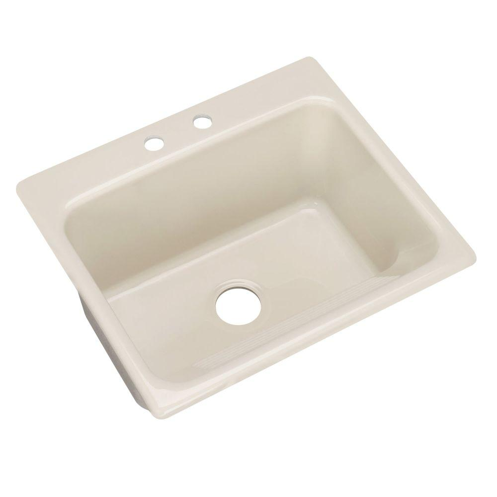 Thermocast Kensington Drop-In Acrylic 25 in. 2-Hole Single Bowl Utility Sink in Natural