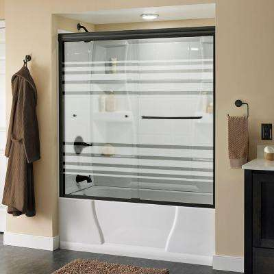 Simplicity 60 in. x 58-1/8 in. Semi-Frameless Sliding Bathtub Door in Bronze with Transition Glass
