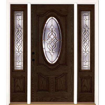 63.5 in.x81.625 in. Lakewood Brass 3/4 Oval Lt Stained Walnut Oak Right-Hand Fiberglass Prehung Front Door w/ Sidelites