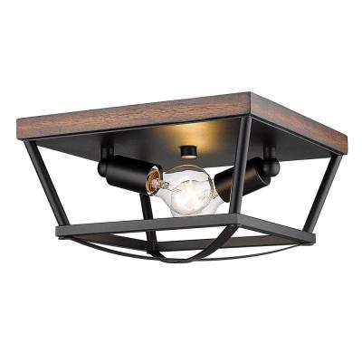 Teagan 12.125 in. 2-Light Natural Black Flush Mount