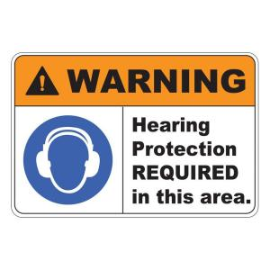 Rectangular Plastic Warning Hearing Protection Safety Sign by