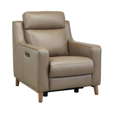 Wisteria Light Brown Wood and Taupe Genuine Leather Contemporary Chair