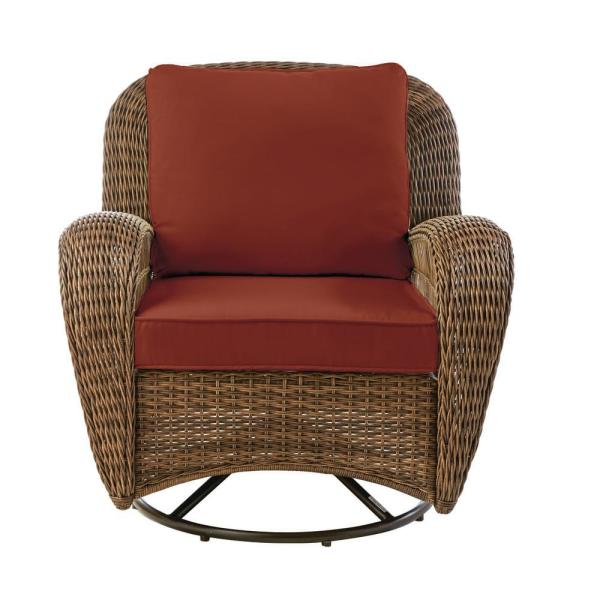 Beacon Park Brown Wicker Outdoor Patio Swivel Lounge Chair with Sunbrella Henna Red Cushions