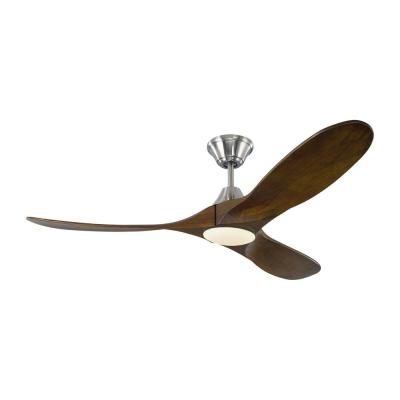 Maverick II 52 in. Integrated LED Indoor/Outdoor Brushed Steel Ceiling Fan with Dark Walnut Blades with Remote Control