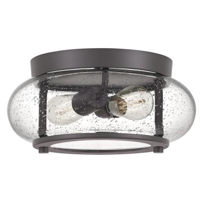 Trilogy 12 in. 2-Light Old Bronze Flush Mount