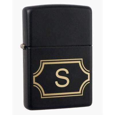 "Black Matte Lighter with Initial ""S"""