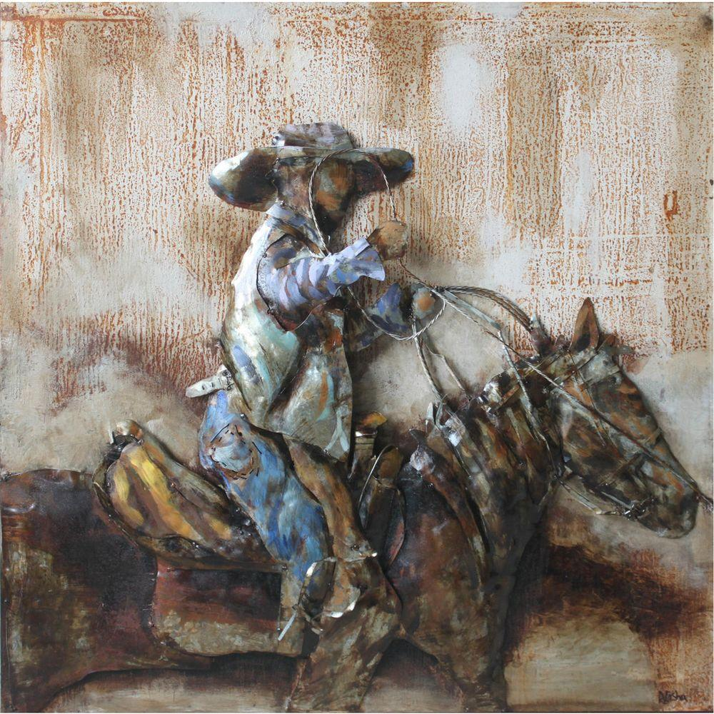 Yosemite Home Decor 32 in. x 32 in. Rodeo Hand Painted Contemporary Artwork