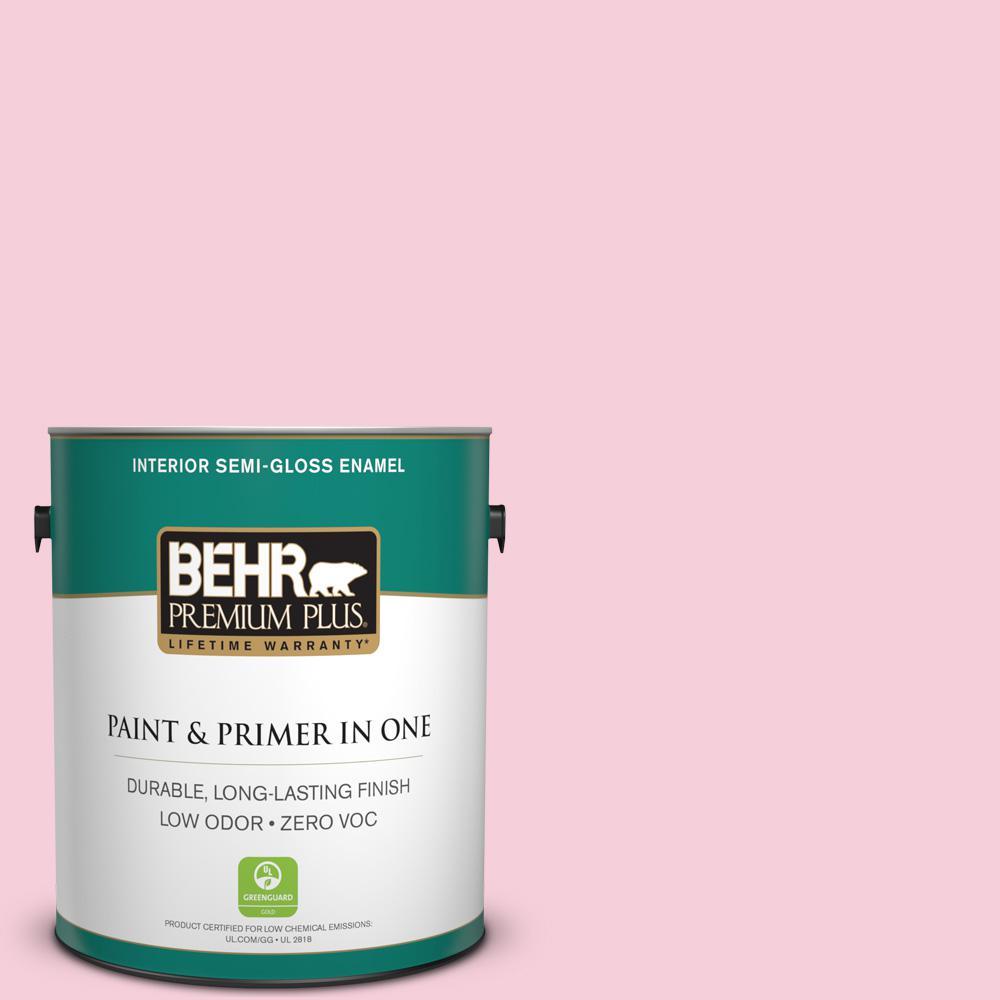 1-gal. #120C-1 April Blush Zero VOC Semi-Gloss Enamel Interior Paint