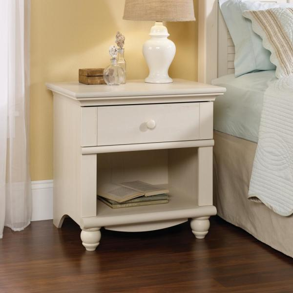 SAUDER Harbor View 1-Drawer Antiqued White Nightstand